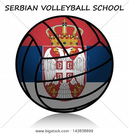 Illustration of a symbol of Serbian volleyball school on a white background.