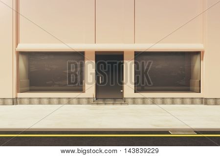 Front view of empty storefront in daylight. Mock up 3D Rendering