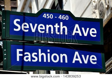 New York City - July 24 2010: Street sign at Seventh Avenue and West 34th Street also known as Fashion Avenue in Manhattan's famed garment district