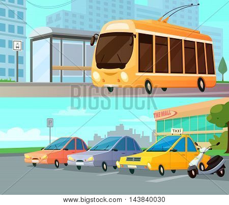 City transport cartoon compositions with trolley at street stop and mall parking with taxi cars and motorbike flat vector illustration