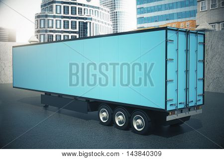 Side view of blank blue semi-trailer on city background. Mock up 3D Rendering