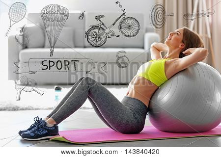 Beautiful young woman doing exercise with fit ball at home. Sport lifestyle concept. Diversity of sport icons on background.