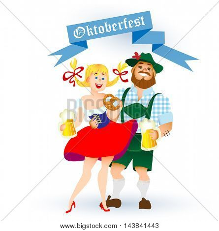Bavarian man and woman celebrating oktoberfest with a big glass of beer. Vector illustration