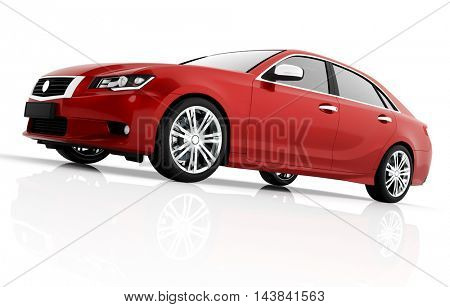 Modern red metallic sedan car in spotlight. Generic desing, brandless. 3D rendering.