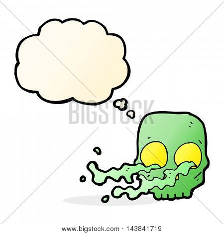 cartoon gross skull with thought bubble
