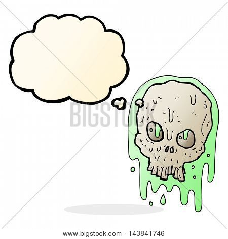 cartoon slimy skull with thought bubble