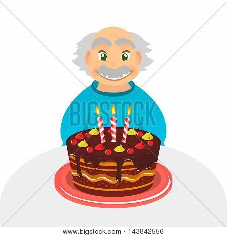 Old man celebrating birthday. Senior man with chocolate cake and candle sitting alone over white. Portrait of grandfather with grey hair and mustache front view. caucasian elder man