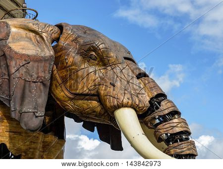 NANTES, FRANCE - CIRCA SEPTEMBER 2015: Closeup of the Great Elephant of the Machines of the Isle of Nantes.