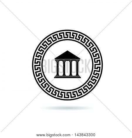 Greek Icon Paradise In Black Color Illustration