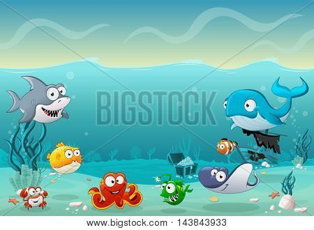 Cartoon fish under the sea. Underwater world with corals.