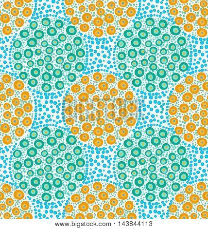 Painted Orange And Green Dotted Circles On Blue Dots