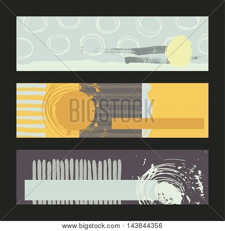 Set of horizontal banners handdrawn decorated with liquid ink brush stripes strokes and spots. Isolated on background vector illustration stylish with imperfect parts in intricate bright colors contrast and bright.