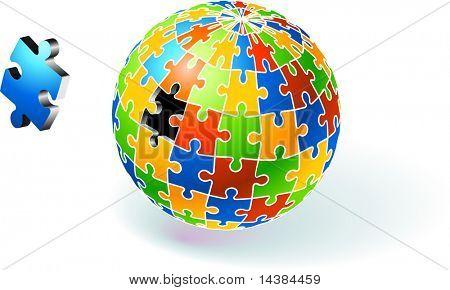 Incomplete Multi Colored Globe Puzzle Original Vector Illustration Incomplete Globe Puzzle Ideal for Unity Concept