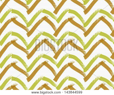 Rough Brush Brown And Green Chevron