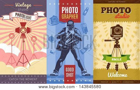 Three colored vintage photographer poster set with vintage studio photolight catch the moment photostudio smile descriptions vector illustration