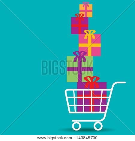 Shopping cart overflowing with nice colorful gifts