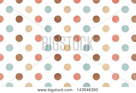 Watercolor Brown, Pink, Beige And Blue Polka Dot Background.