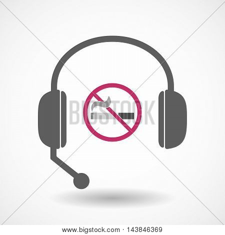 Isolated  Hands Free Headset Icon With  A No Smoking Sign