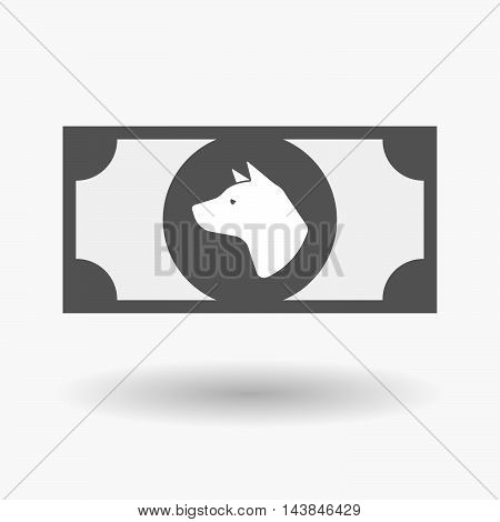 Isolated  Bank Note Icon With  A Dog Head