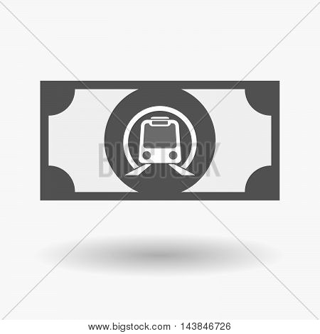 Isolated  Bank Note Icon With  A Subway Train Icon