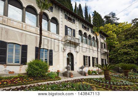Varenna Italy - May 06 2016: The house in a garden of Villa Monastero spring time