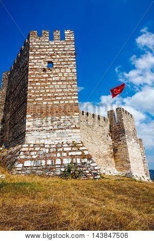 Selcuk Castle tower stone walls in Turkey