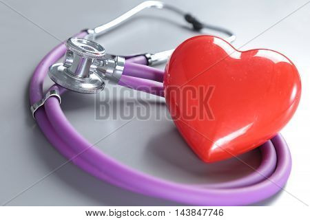Medical Instruments, Stethoscope And Red Heart For Ent