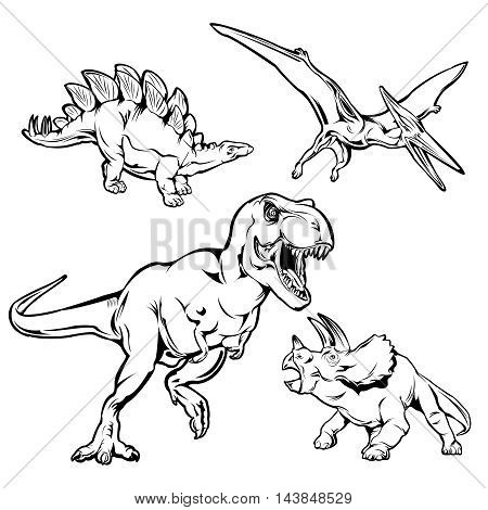 Dinosaurs monochrome hand drawn icons set with t-rex triceratops stegosaurus and pterodactyl isolated vector illustration