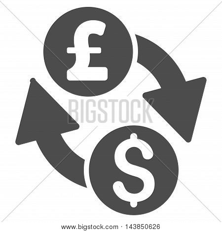 Dollar Pound Exchange icon. Vector style is flat iconic symbol with rounded angles, gray color, white background.