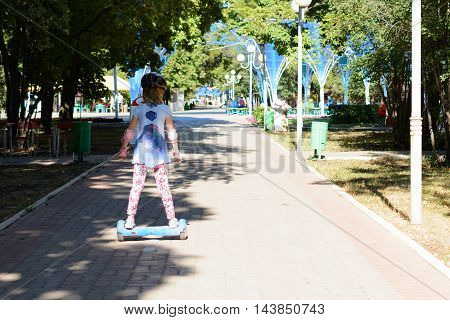 Girl Riding On The Hoverboard