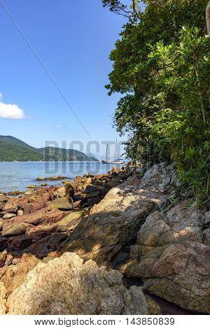Sea detail forest islands and hills of Ilha Grande bay in Angra dos Reis Rio de Janeiro