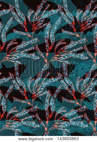 Underwater Red Fish Overlapping Kelp