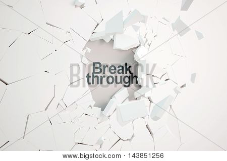 Break through concept with broken concrete wall and text. 3D Rendering