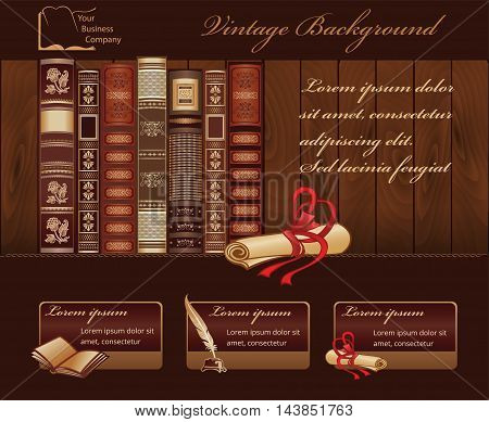 Vintage Book Template with dark wooden background
