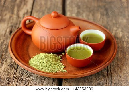 Brewing green tea powder tea set. Green tea powder matcha, natural Japanese tea