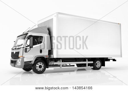 Commercial cargo delivery truck with blank white trailer. Isolated, generic, brandless vehicle design. 3D rendering