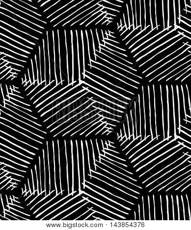 Rough Inked Hexagons On Black