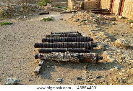 Rethymno city Greece Fortezza fortress armory cannons