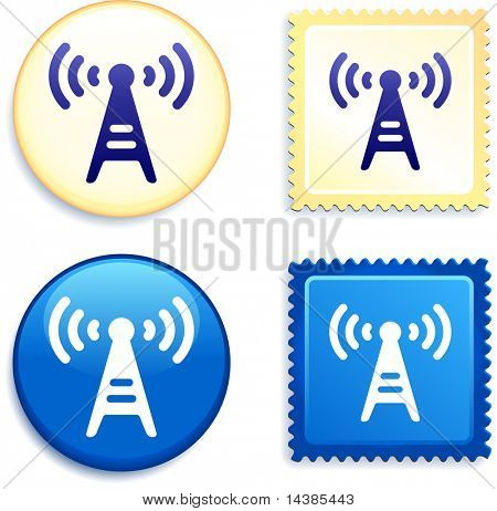 Radio Signal on Stamp and Button Original Vector Illustration Buttons Collection
