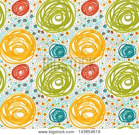 Painted Orange And Green Circles With Dots