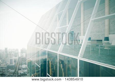 Glass Building Exterior And Interior
