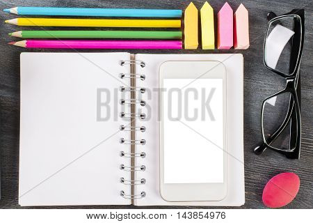 Notepad, Smartphone And Supplies