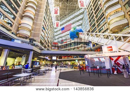ATLANTA, GEORGIA - AUGUST 2, 2016: CNN Center in Atlanta. The building is world headquarters for CNN.