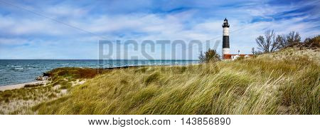 Beach Grass At Big Sable Point Lighthouse Along Lake Michigan Ludington State Park Lower Peninsula Michigan USA