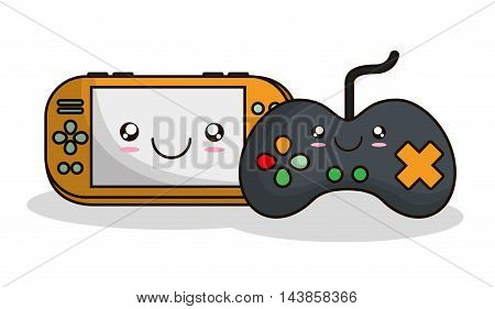 videogame control kawaii cartoon smiling technology icon. Colorful and flat design. Vector illustration