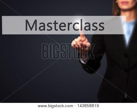 Masterclass - Businesswoman Pressing Modern  Buttons On A Virtual Screen