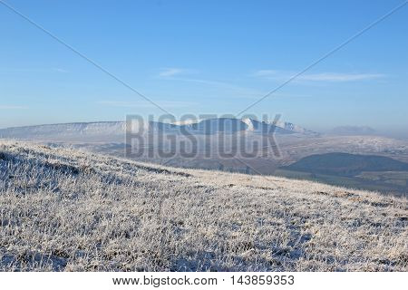 Hills of the Brecon Beacons, Wales in winter