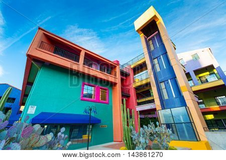 TUCSON - DECEMBER 01: Colorful buildings of La Placita Village Shopping Center in downtown Tucson, AZ, USA