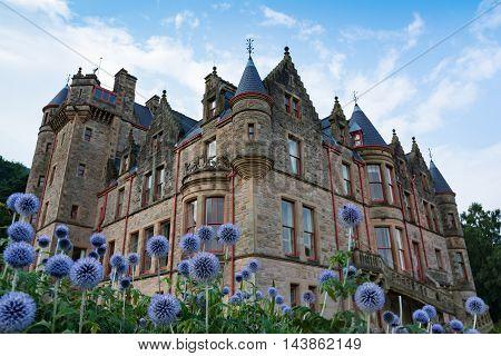 Dreamy Belfast Castle on Beautiful Flowers in Garden Perspective Two
