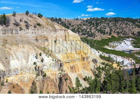 Colorful Cliff And Yellowstone River